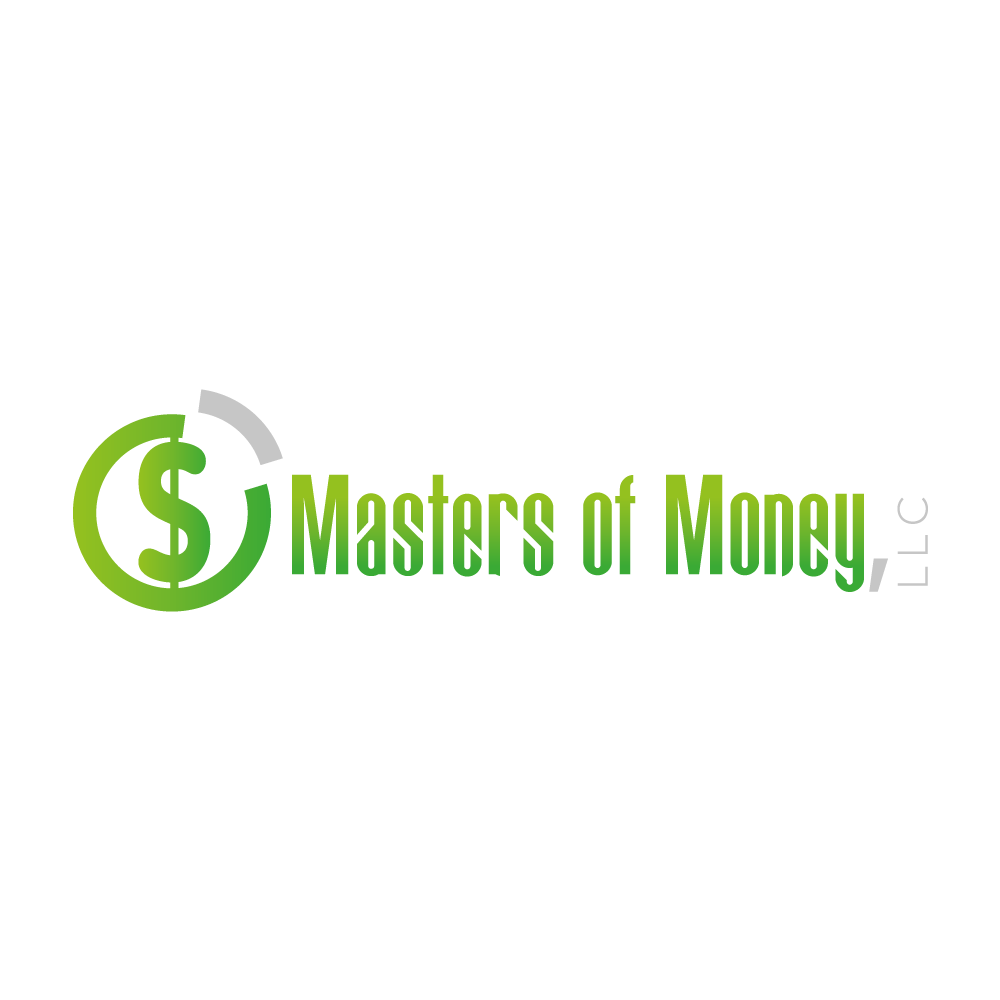 Masters of Money LLC Green & Gray Logo