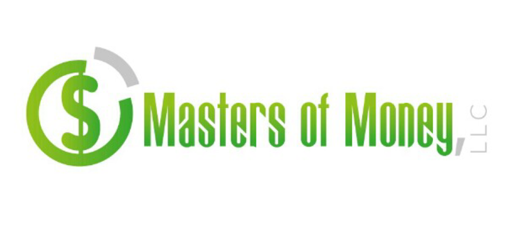 Masters of Money LLC Green White Gray Logo