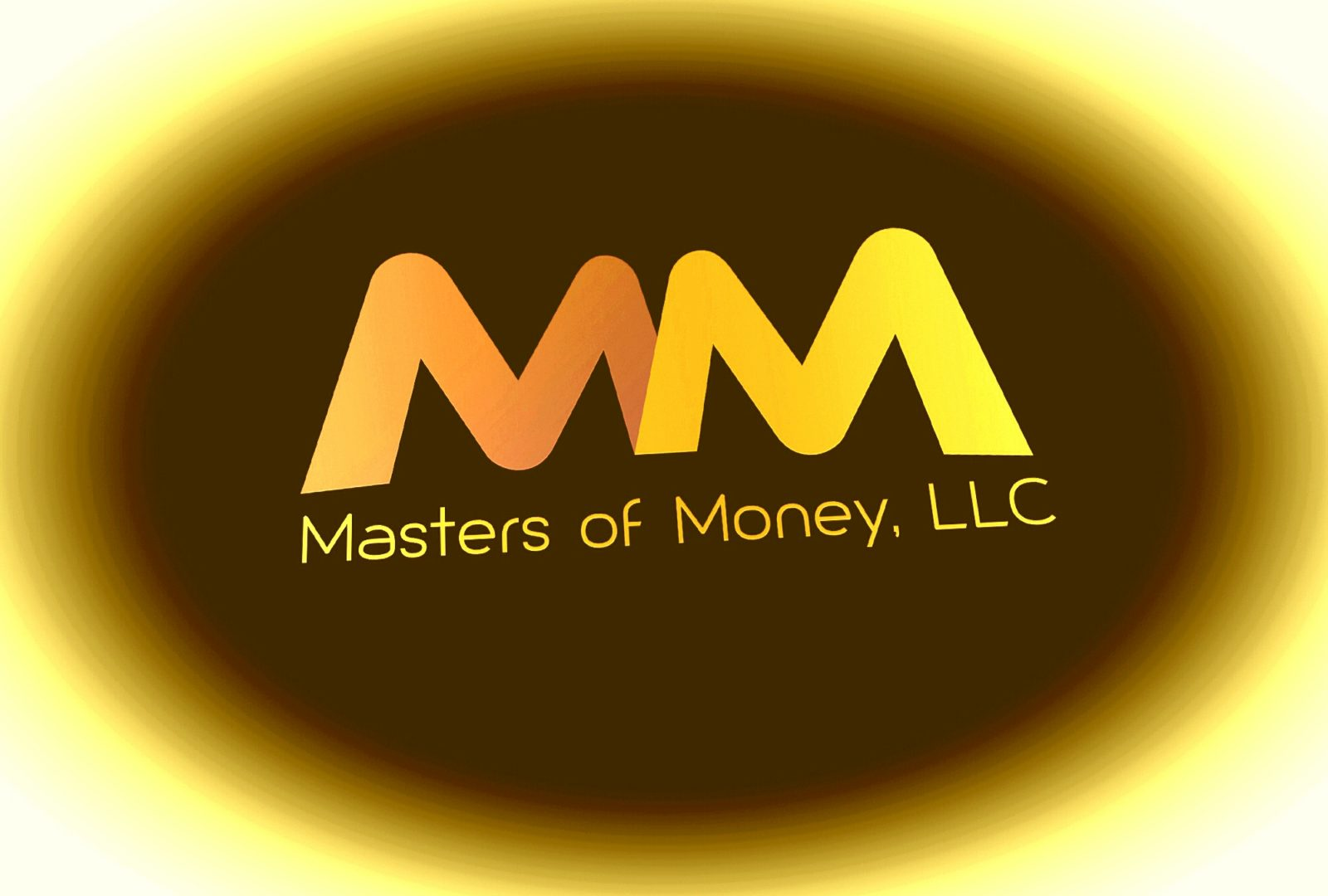 Masters of Money LLC Orange Brown & Yellow Logo
