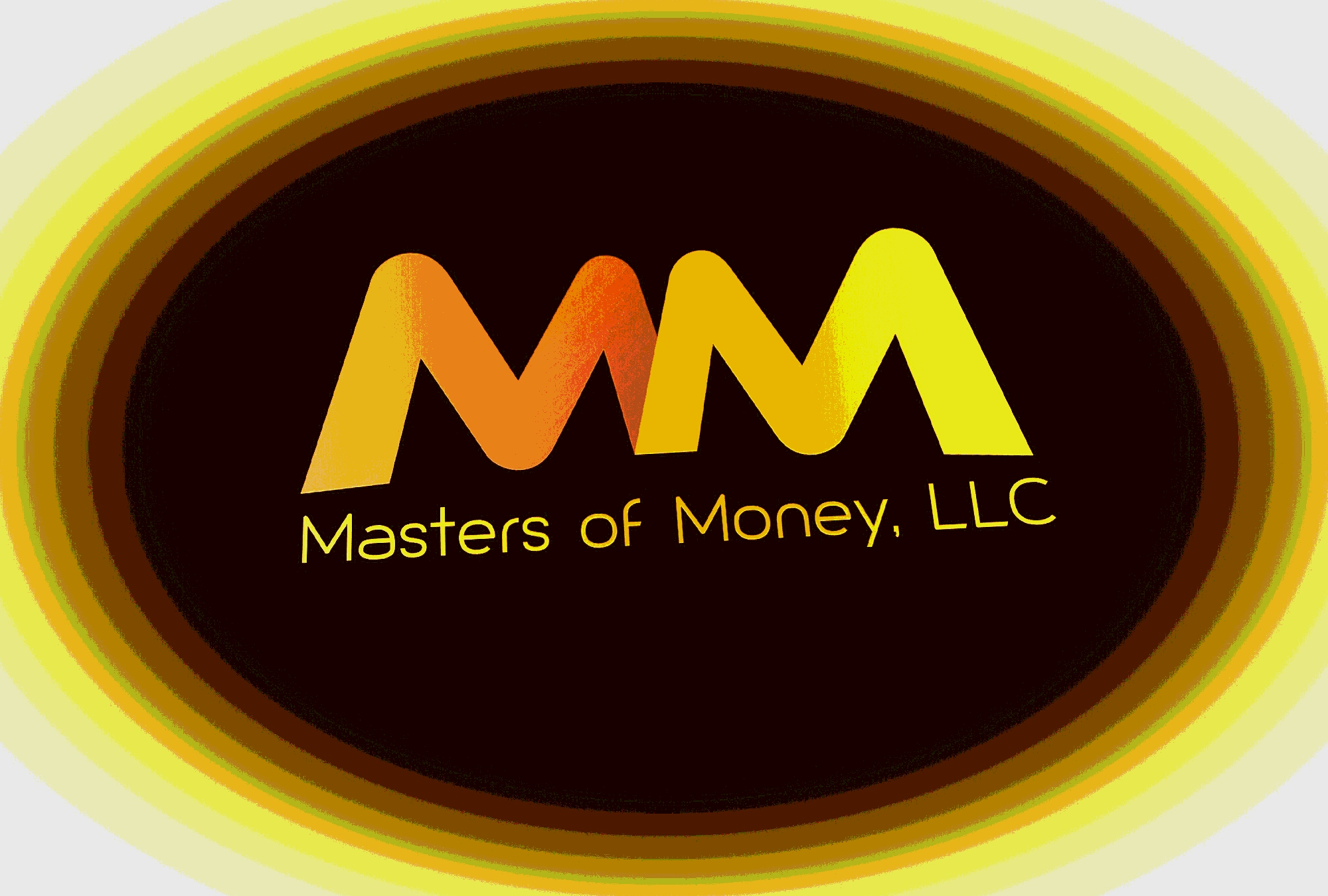 Masters of Money LLC Yellow Orange & Brown Logo