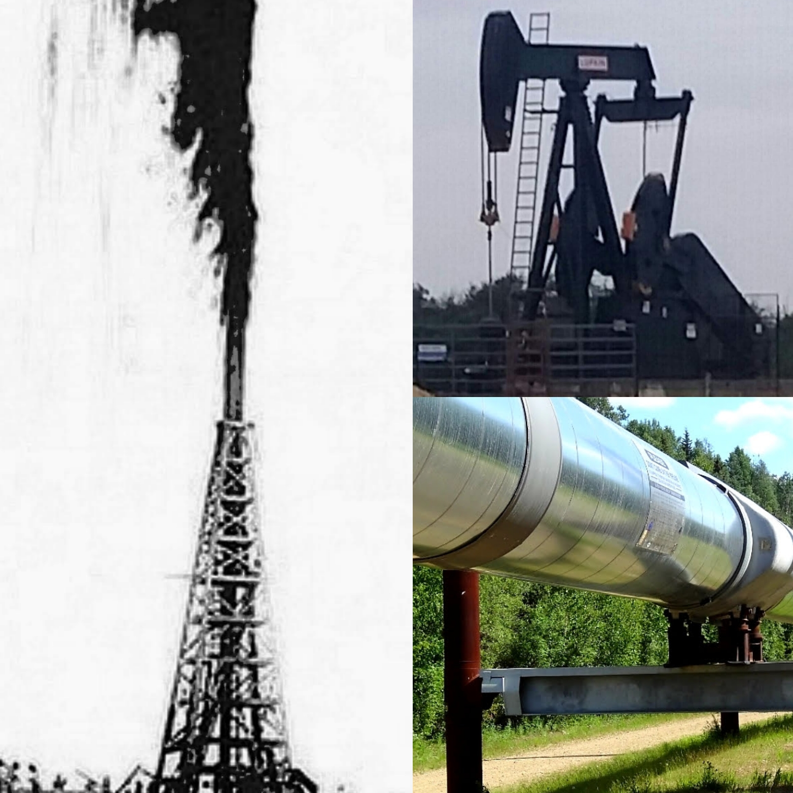 Oil Gusher & Production Collage Photo