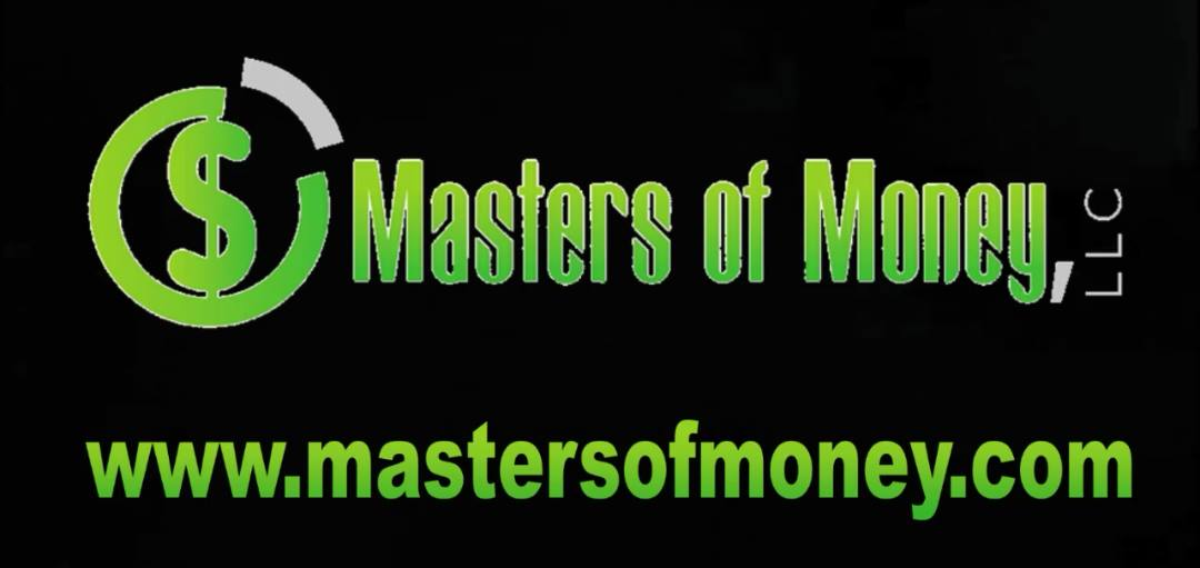 Masters of Money LLC & Mastersofmoney.com Black & Green Logo