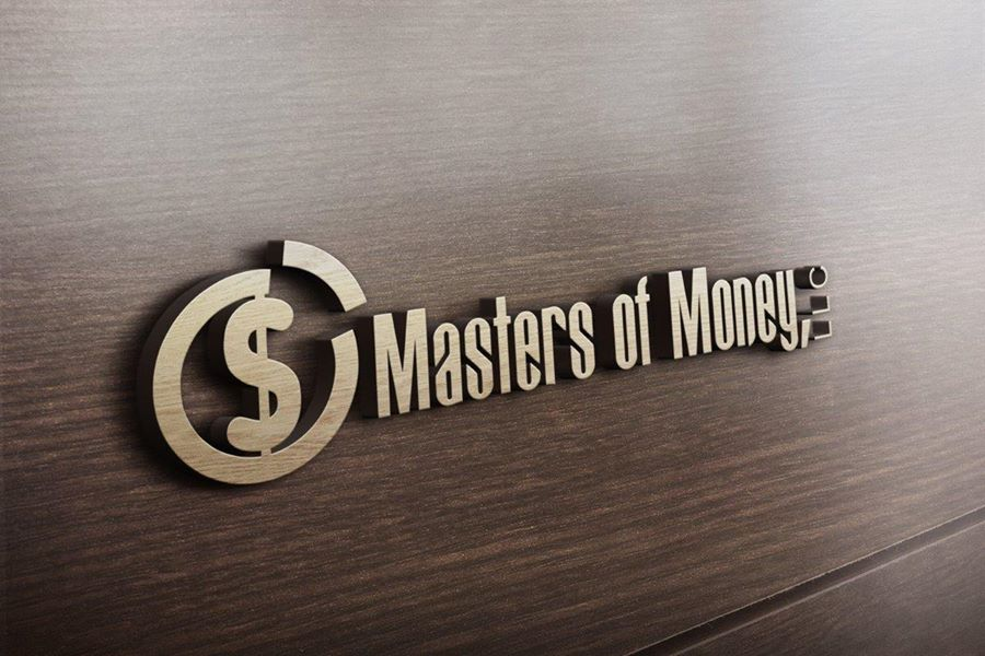 Gold Masters of Money LLC Logo Framed On Wood Wall Background