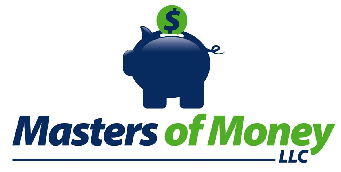 Masters of Money LLC Blue & Green Piggy Bank Logo