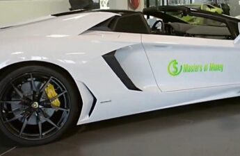 Masters of Money LLC Logo Branded Lamborghini Promotional Photo